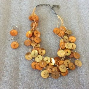 Orange Mother of Pearl Cluster Necklace & Earrings
